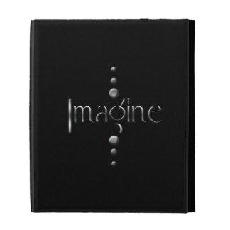 3 Dot Silver Block Imagine & Black Background iPad Case