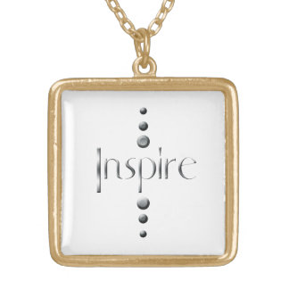 3 Dot Silver Block Inspire Gold Plated Necklace