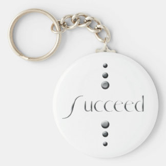 3 Dot Silver Block Succeed Keychain