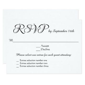 Multiple choice cards photocards invitations more 3 entree menu choices wedding rsvp response reply card stopboris Image collections