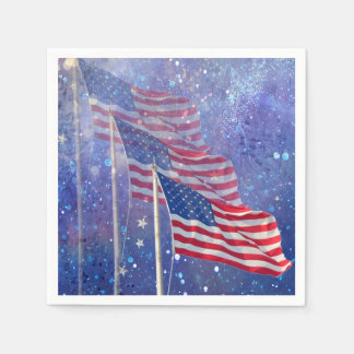 3 Flags Napkins, Patriotic with Starry Sky & Mist Paper Napkin