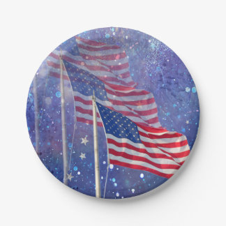 3 Flags Paper Plate with Starry, Misty Background 7 Inch Paper Plate