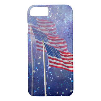 3 Flags with Starry Background Apple iPhone 7 Case