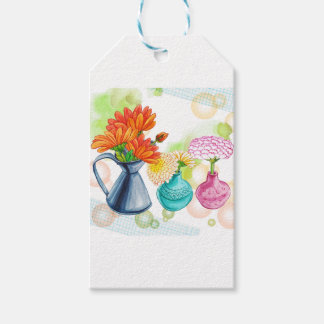 3 Flower Pots Water Colour Drawing Gift Tags