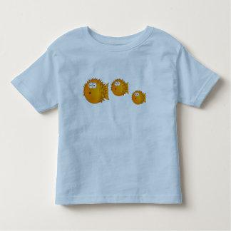 3 Funny Cartoon Puffer Fish Family Swimming Toddler T-shirt