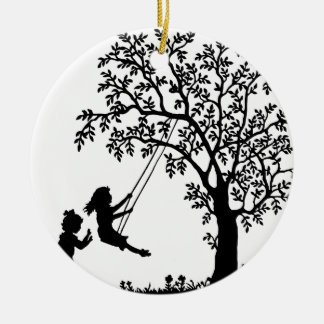 3 Girls, Swinging on Tree Swing & Picking Flowers Ceramic Ornament