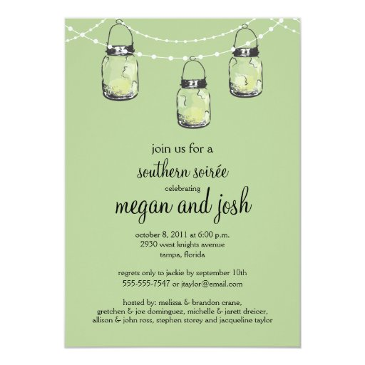 "3 Hanging Mason Jars - Engagement Party 5"" X 7"" Invitation Card"