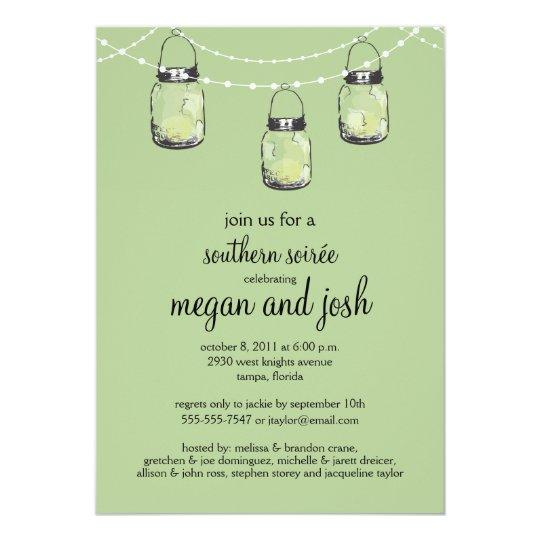 "3 Hanging Mason Jars - Engagement Party 5"" X 7"" Invitation Card"