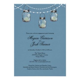 3 Hanging Mason Jars - Engagement Party Personalized Invites