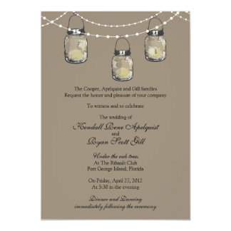 3 Hanging Mason Jars - Wedding Card