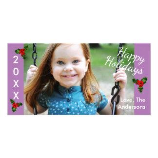 3 Holly Purple Happy Holidays-Christmas Photo Card