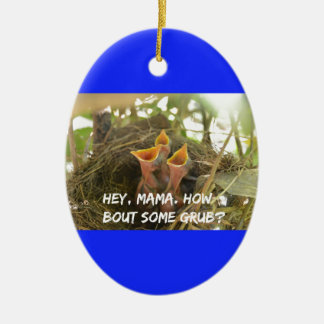 3 Hungry Baby Birds In Nest Ceramic Ornament