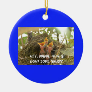 3 Hungry Baby Birds In Nest Round Ceramic Ornament