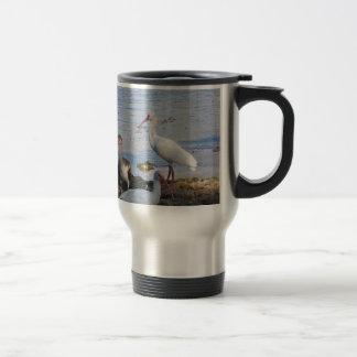3 Ibis on the shore of Florida Bay Travel Mug
