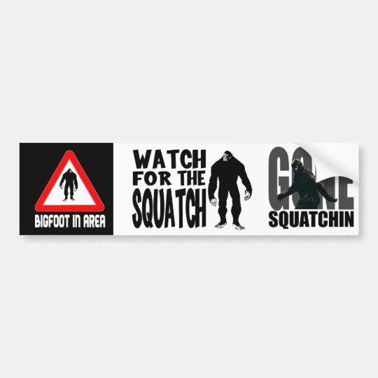 3-in-1 mini Bumper Stickers! Squatch or Bigfoot Bumper Sticker