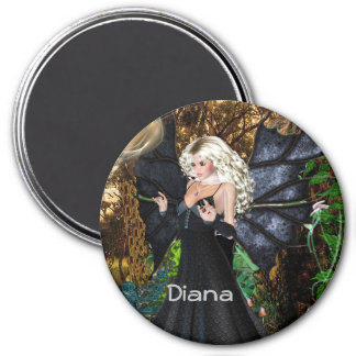 3 Inch Round Magnet; Fairy Collection: Diana Magnet