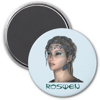 3 Inch Round Magnet; Fairy Collection: Roswen 3 Inch Round Magnet