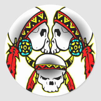 3 Indian Skulls Classic Round Sticker
