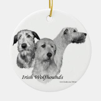 3 Irish Wolfhound heads Ceramic Ornament