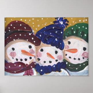 3 Jolly Snowmen Poster