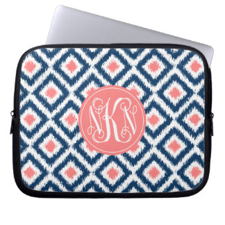 3-Letter Monogram Coral and Blue Ikat Pattern Laptop Sleeve