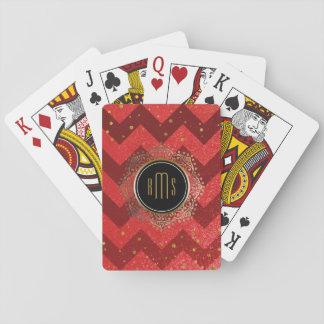 3 Letter Monogram Initials   Red Chevrons Gold Playing Cards