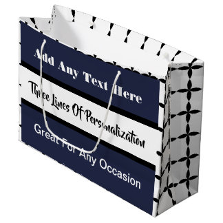 3 Lines of Customization Multi-Occasion Blue Large Gift Bag
