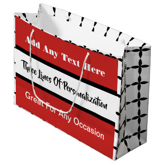 3 Lines of Customization Multi-Occasion Red Large Gift Bag