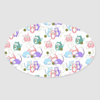 3 Little Kittens Knitting! Oval Sticker