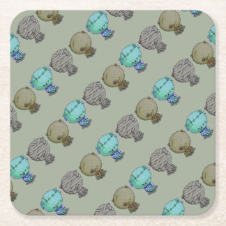 3 Little Monsters Square Paper Coaster