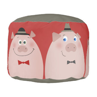 3 Little Retro Pigs Funny Trendy Cartoon Kids Chic Pouf