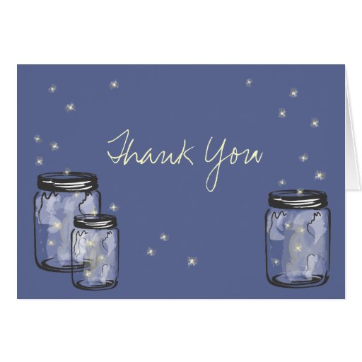 3 Mason Jars filled with Fireflies Greeting Cards