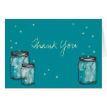 3 Mason Jars filled with Fireflies Note Card