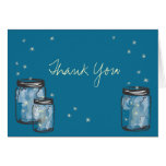 3 Mason Jars with Fireflies Note Card