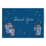 3 Mason Jars with Fireflies Note Card