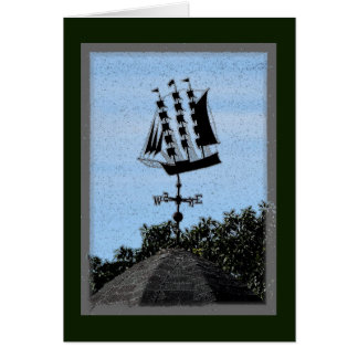 3-mast sailing ship weathervane notecard