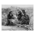 3 MEN and DOG PANNING for GOLD c. 1889 Poster