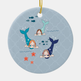 3 Mermaids Ceramic Ornament