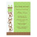 3 Monkeys Green Baby Shower Invitation
