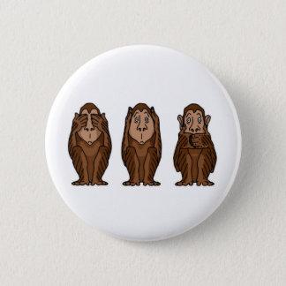 3 Monkeys, See no evil, Hear no evil, See no evil 2 Inch Round Button