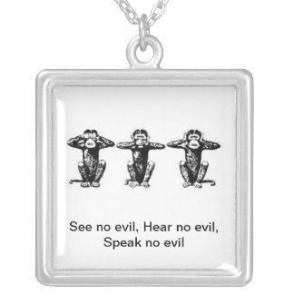 3 Monkeys Silver Plated Necklace