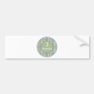 3 Months Plaid Milestone Bumper Sticker