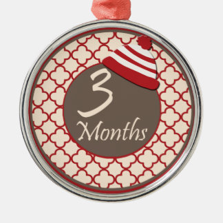 3 Months Sock Monkey Milestone Silver-Colored Round Ornament