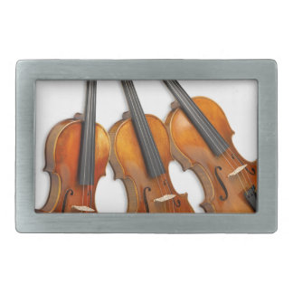 3 MUSICAL VIOLINS RECTANGULAR BELT BUCKLES