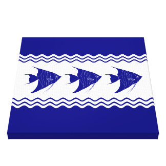 3 Navy Blue And White Coastal Decor Angelfish Canvas Print