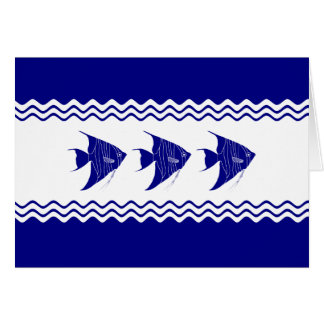 3 Navy Blue And White Coastal Decor Angelfish Card
