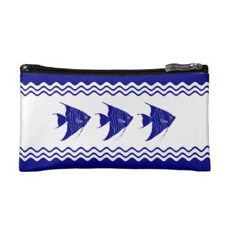 3 Navy Blue And White Coastal Decor Angelfish Makeup Bag