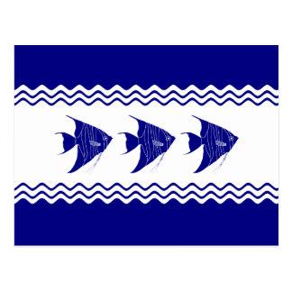 3 Navy Blue And White Coastal Decor Angelfish Postcard