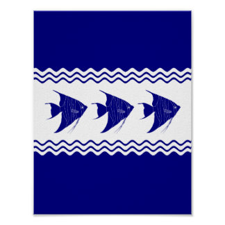 3 Navy Blue And White Coastal Decor Angelfish Poster
