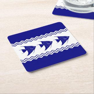 3 Navy Blue And White Coastal Decor Angelfish Square Paper Coaster